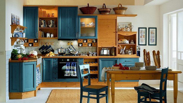 Massivholzküchen - blaue Küche traditionell